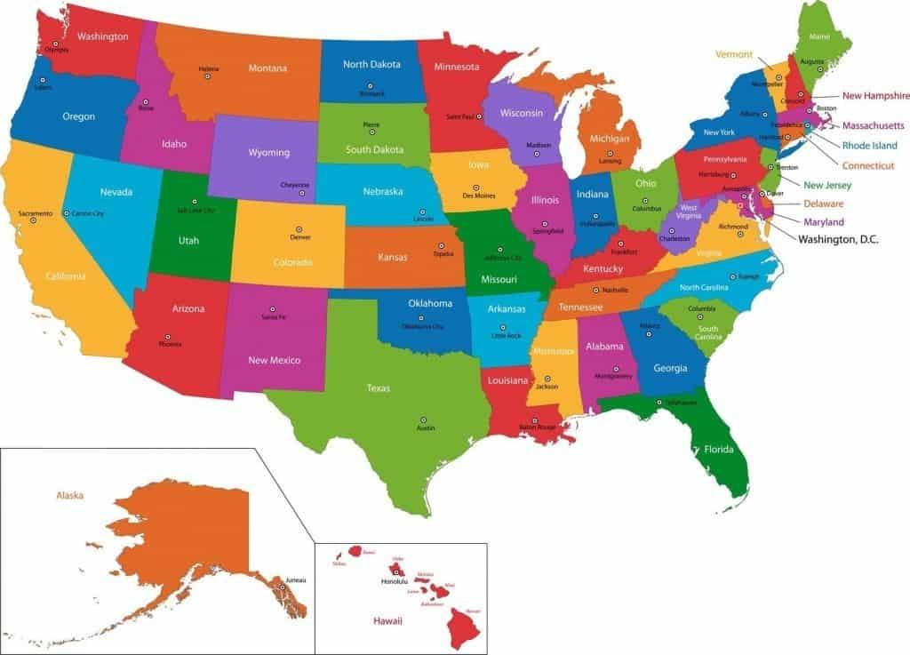 De 50 stater i USA